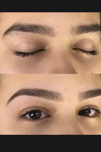 brow shape and tint before and after