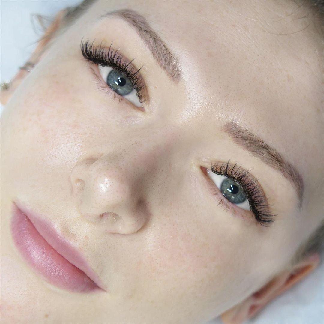 eyelash extensions and brow